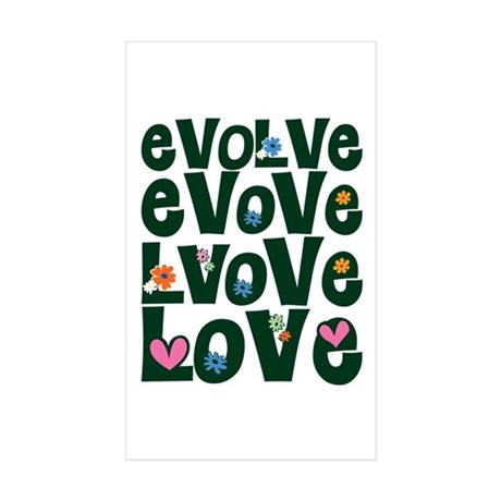 Evolve Whimsical Love Rectangle Stickers ~ Pack of 10
