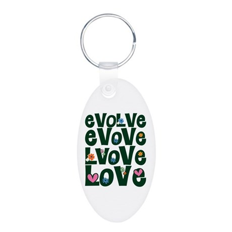 Evolve Whimsical Love Aluminum Oval Keychain