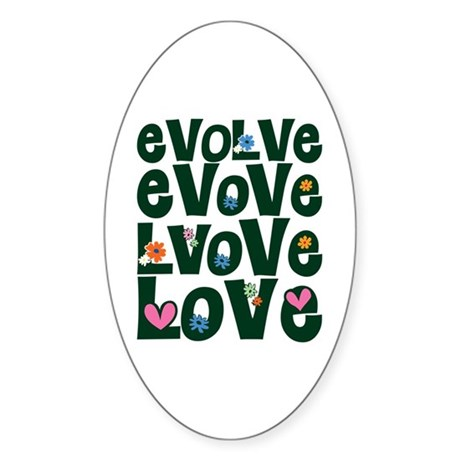 Evolve Whimsical Love Oval Sticker