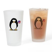 Patriotic penguin Drinking Glass