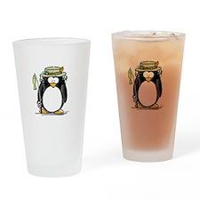 Fishing penguin Drinking Glass