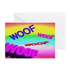 FLOATING WOOFS on RAINBOW TILE Greeting Cards 10