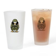 US Soldier Penguin Drinking Glass