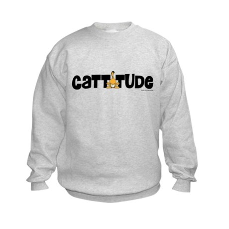 Cattitude Mooning Kids Sweatshirt
