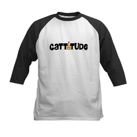 Cattitude Mooning Kids Baseball Jersey