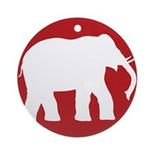 Red Elephant Christmas Ornament (Round)