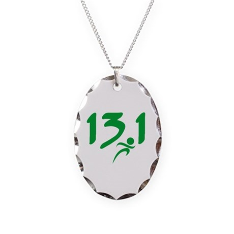 Green 13.1 half-marathon Necklace Oval Charm
