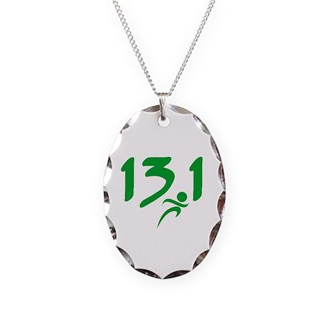 Green 13.1 half-marathon Necklace Oval Charm
