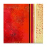 Abstract Red & Cream Tile Coaster