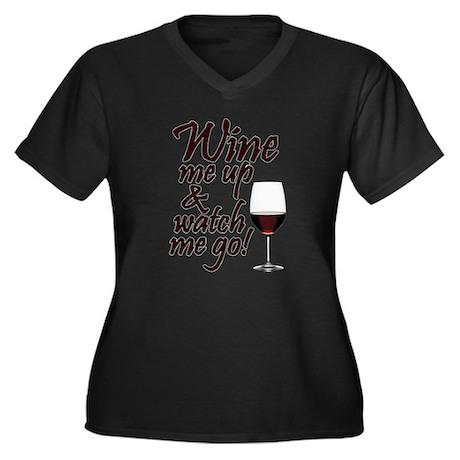 Wine Me Up Women's Plus Size V-Neck Dark T-Shirt
