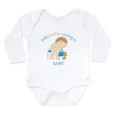 Baby Bro Due May Long Sleeve Infant Bodysuit