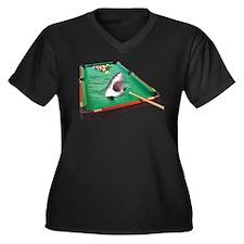 Pool Shark Women's Plus Size V-Neck Dark T-Shirt