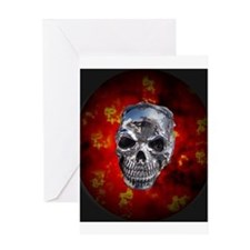 Silver Skull Red Flames Desig Greeting Card