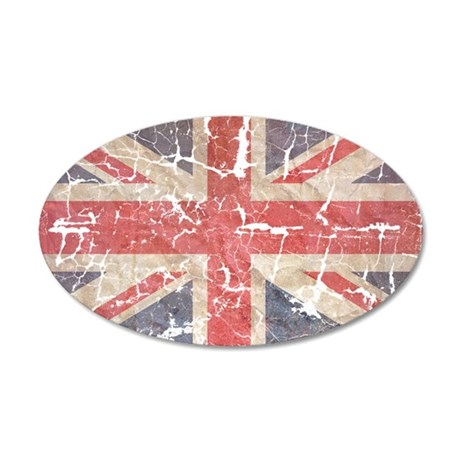 UK Flag Distressed 22x14 Oval Wall Peel