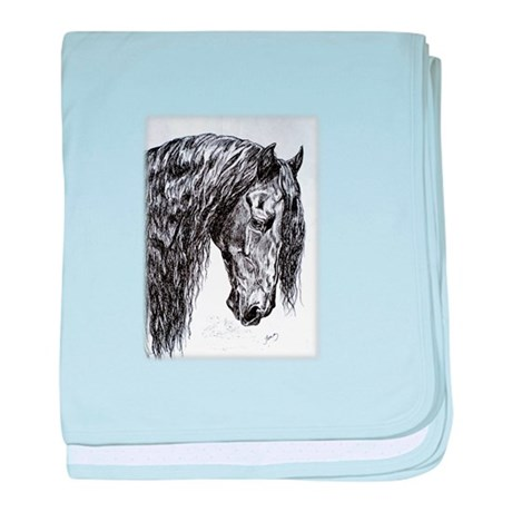 Frisian horse drawing baby blanket