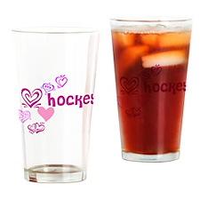 Love Hockey Drinking Glass