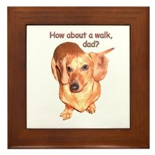 Dad Walk Dachshund Dog Framed Tile