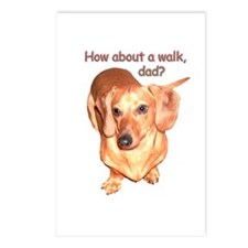Dad Walk Dachshund Dog Postcards (Package of 8)