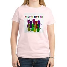 Cats Rule Women's Pink T-Shirt
