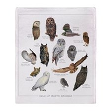 Owls of North America Throw Blanket
