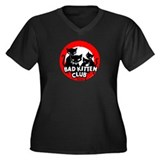Bad Kitten Club Women's Plus Size V-Neck Dark T-Sh