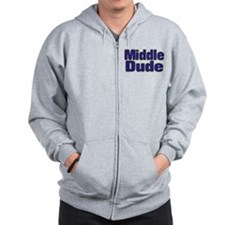 MIDDLE DUDE (dark blue) Zip Hoodie