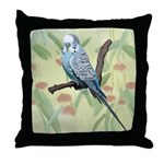 Blue Parakeet or Budgie Throw Pillow