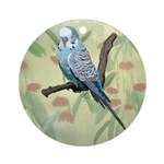 Blue Parakeet or Budgie Ornament (Round)