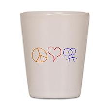 Peace Love & Dykes Shot Glass