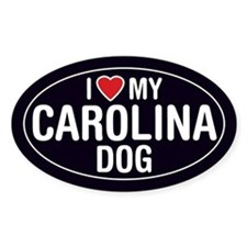 I Love My Carolina Dog Oval Sticker/Decal