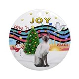 Christmas Music2-Siamese Cat (Ch) - round ornament