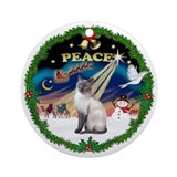 Peace Wreath & Siamese cat (blue) Ornament (Round)