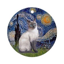 Starry Night & Siamese cat (blue) Ornament (Round)
