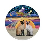 Xmas Star - Two Siamese cats Ornament (Round)