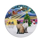 Xmas Magic - Two Siamese cats Ornament (Round)