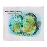 Blue Discus Fish Throw Blanket