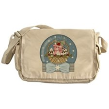 Pig Snow-Globe Holiday Messenger Bag