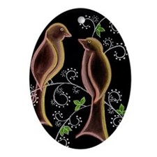 Lovebirds Ornament (Oval)