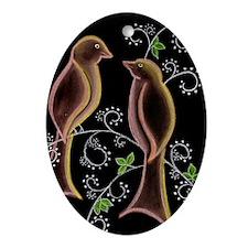 Lovebirds Ornament (Oval)