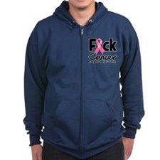 Fuck Breast Cancer Zipped Hoodie