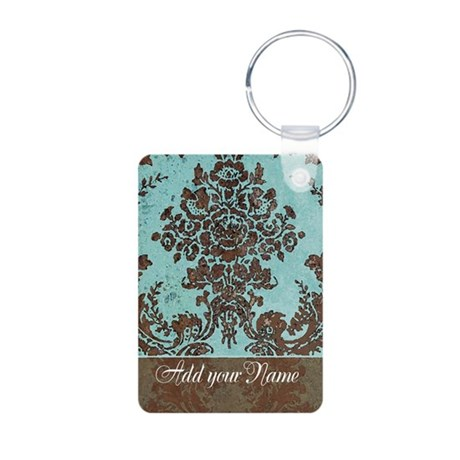 Add Name - Grunge Damask Aluminum Photo Keychain