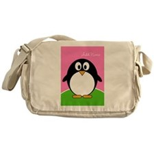 Add Name Cute Penguin Pink Messenger Bag
