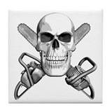 Skull and Chainsaws Tile Coaster