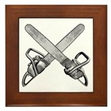 Crossed Chainsaws Framed Tile