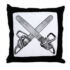 Crossed Chainsaws Throw Pillow