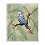 Blue Parakeet or Budgie Throw Blanket