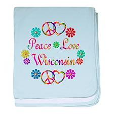Peace Love Wisconsin baby blanket