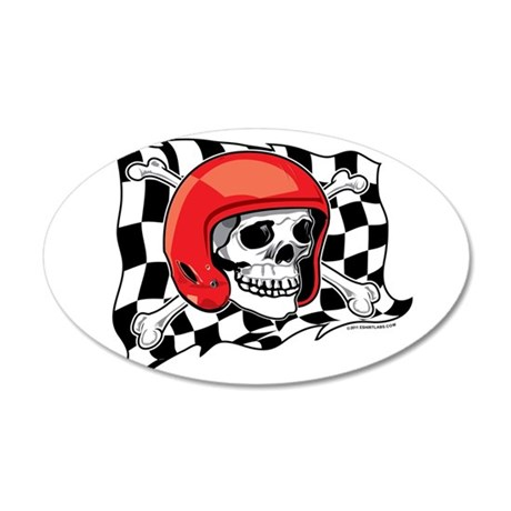 Skull Crossbones Racing 22x14 Oval Wall Peel