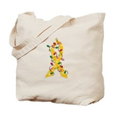 Christmas Lights Ribbon Childhood Cancer Tote Bag