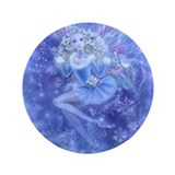 "Blue Christmas Fairy 3.5"" Button"